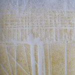 """Hopfenplantage"" II, Papier, Pigmente, 32,5 x 26,5 cm"