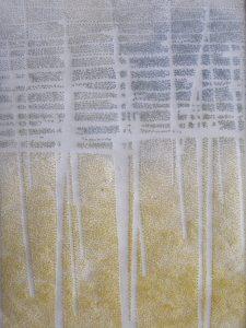 """Hopfenplantage"" I, Papier, Pigmente, 32,5 x 26,5 cm"