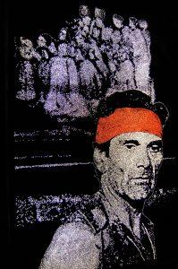 P.P.Pasolini 3, cinefoil perforated, light, wood, 90 x 60 cm