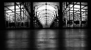 Schlachthof, cinefoil perforated, light, wood, 3 teilig, je 60 x 60 x 3 cm