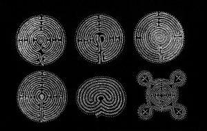 Labyrinthe, cinefoil perforated, light, wood, 21 x 29,5 cm
