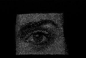 Auge, Detail, cinefoil perforated, light, wood, 8 x 7 cm