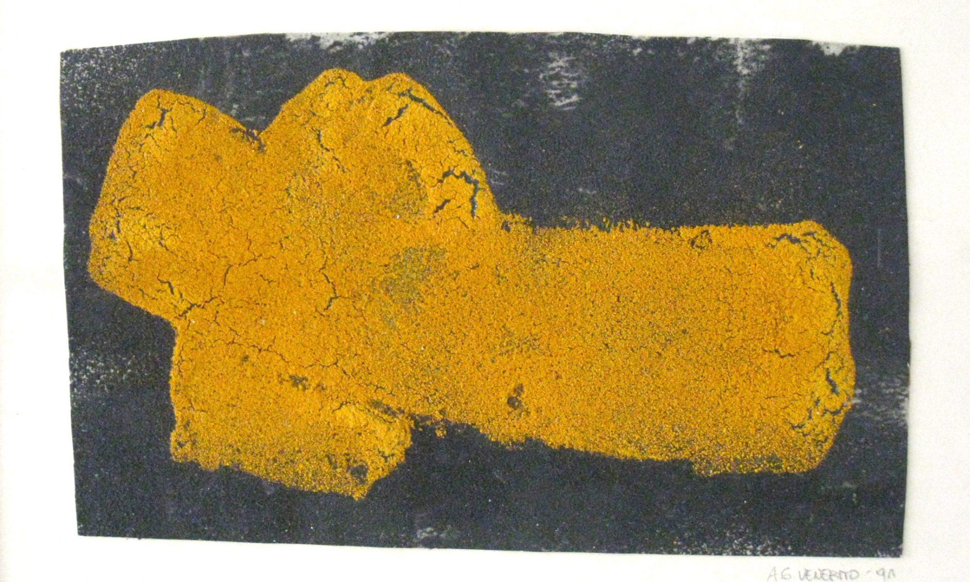 O.T., Baustoffe u. Pigmente auf Papier, 26,5 x 32,5 cm (framed)