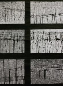 Hopfen, cinefoil perforated, light, wood, 110 x 72 cm