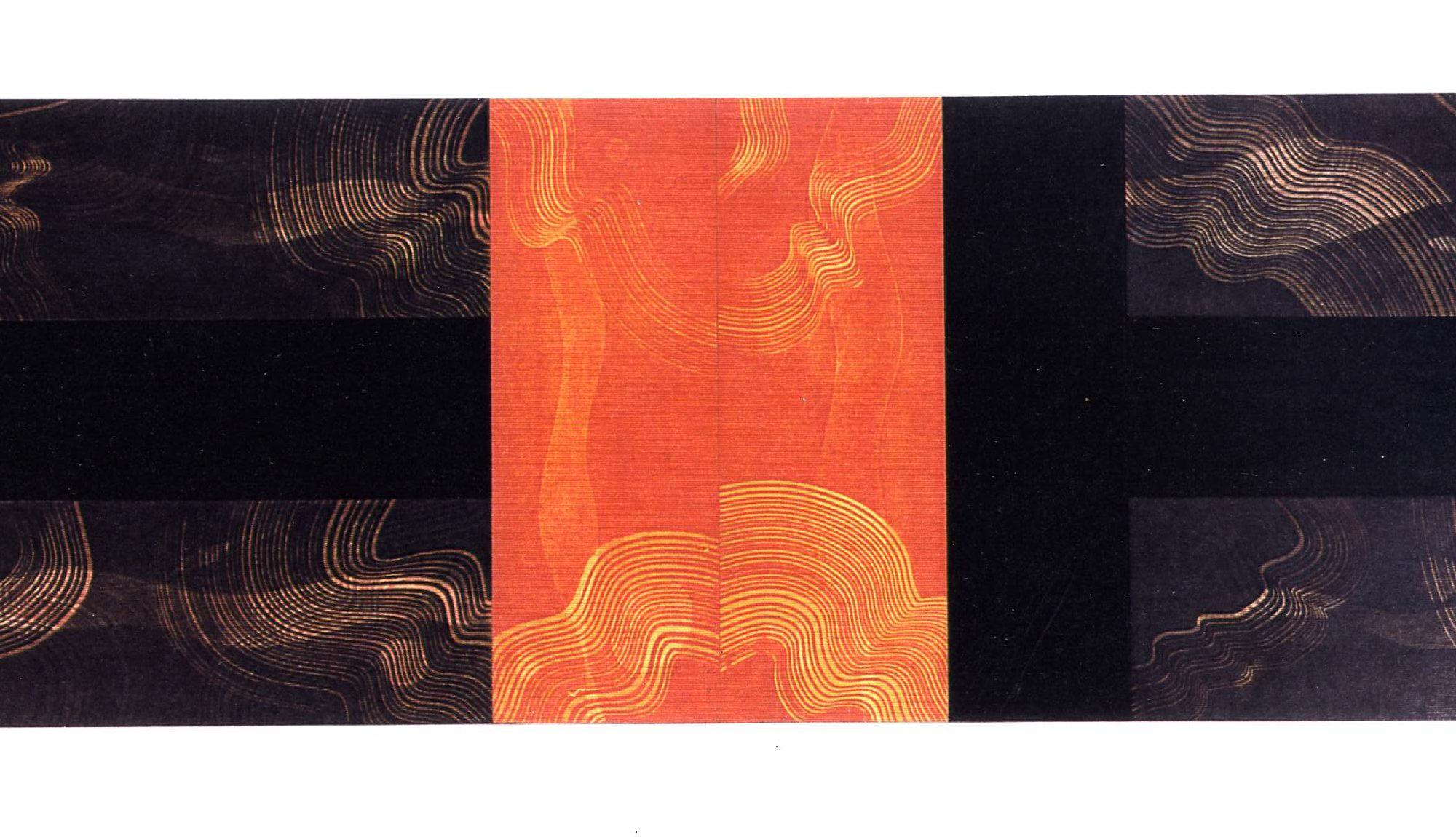O.T., Graphit, Pigmente, Wachs auf Pappe u. auf Holz, 70 x 230 cm