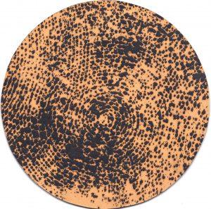 O.T., Graphit u. Öl auf Pappe, 19 cm Ø